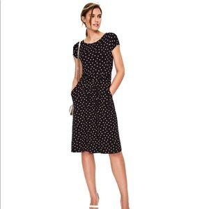 Boden Amelie Black & Pink Polka Dot Jersey Dress